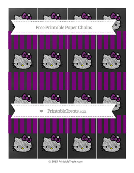 Free Purple Striped Chalk Style Hello Kitty Paper Chains
