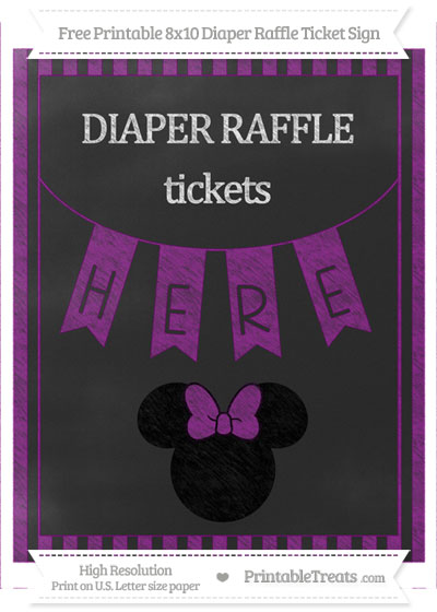Free Purple Striped Chalk Style Minnie Mouse 8x10 Diaper Raffle Ticket Sign