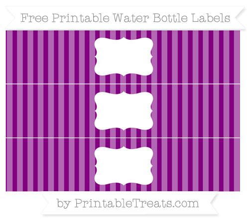 Free Purple Striped Water Bottle Labels