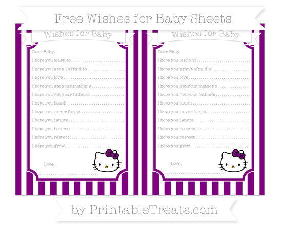Free Purple Striped Hello Kitty Wishes for Baby Sheets