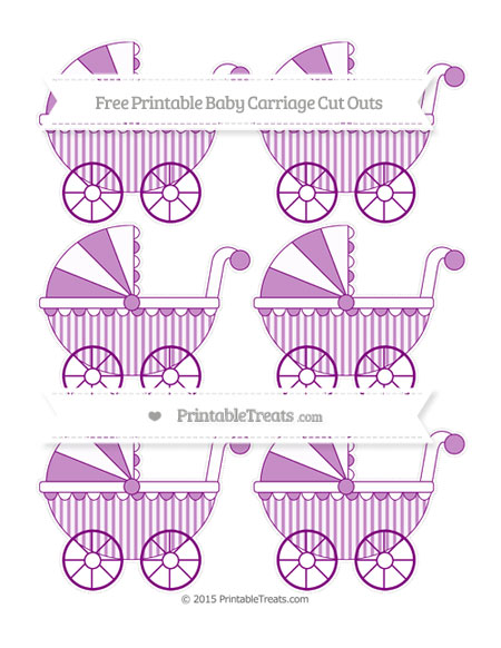 Free Purple Striped Small Baby Carriage Cut Outs