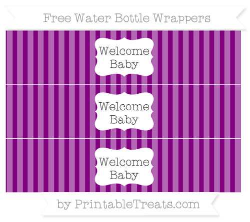 Free Purple Striped Welcome Baby Water Bottle Wrappers