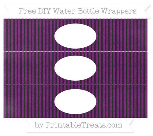 Free Purple Thin Striped Pattern Chalk Style DIY Water Bottle Wrappers