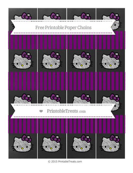 Free Purple Thin Striped Pattern Chalk Style Hello Kitty Paper Chains