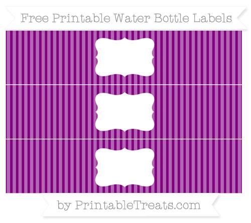 Free Purple Thin Striped Pattern Water Bottle Labels