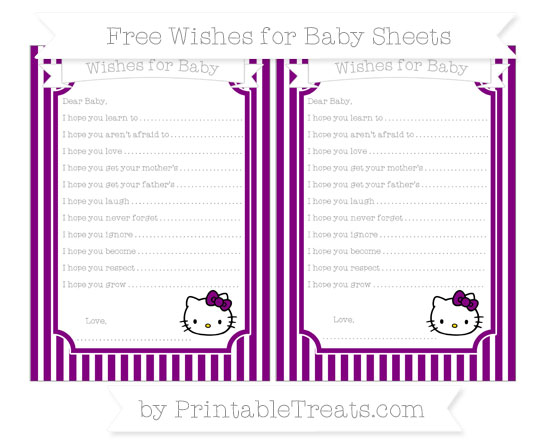 Free Purple Thin Striped Pattern Hello Kitty Wishes for Baby Sheets