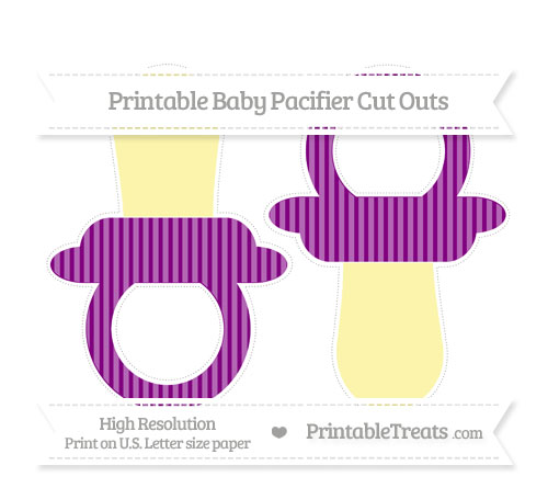 Free Purple Thin Striped Pattern Large Baby Pacifier Cut Outs