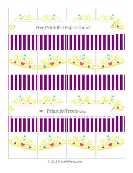 Free Purple Thin Striped Pattern Princess Tiara Paper Chains