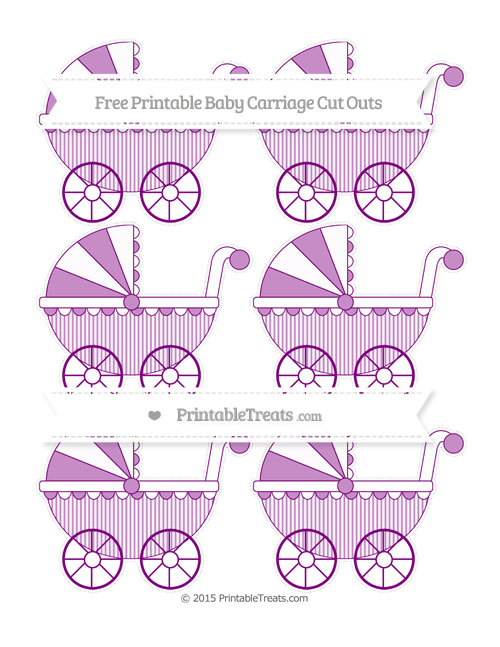 Free Purple Thin Striped Pattern Small Baby Carriage Cut Outs
