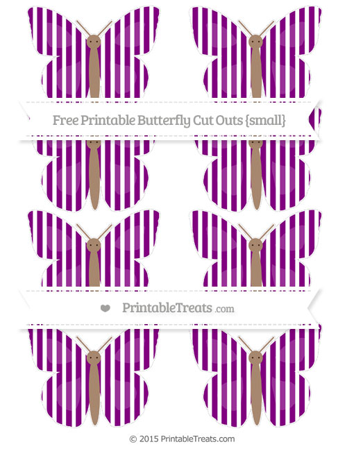 Free Purple Thin Striped Pattern Small Butterfly Cut Outs