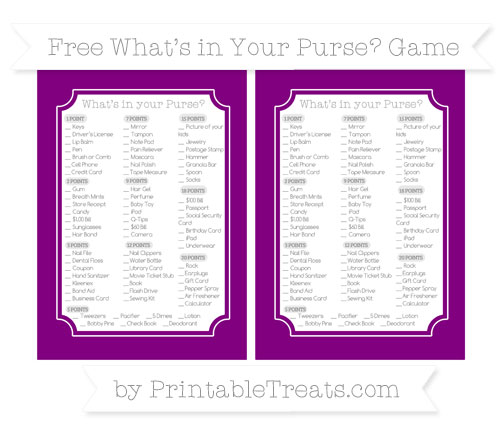 Free Purple What's in Your Purse Baby Shower Game