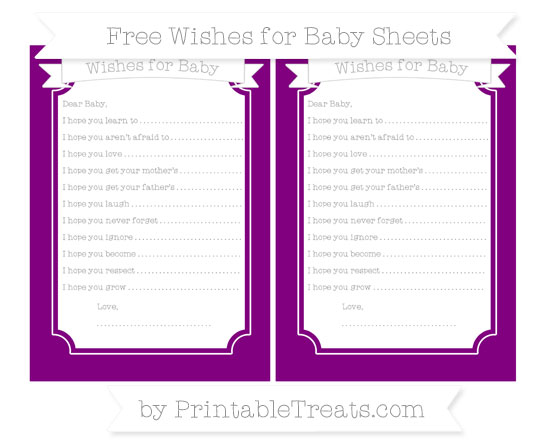 Free Purple Wishes for Baby Sheets