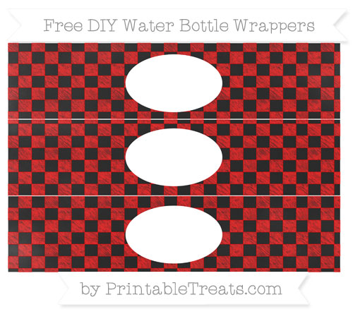 Free Red Checker Pattern Chalk Style DIY Water Bottle Wrappers