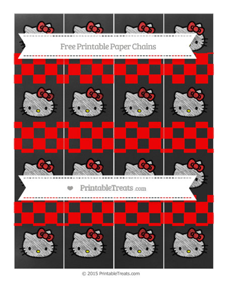 Free Red Checker Pattern Chalk Style Hello Kitty Paper Chains