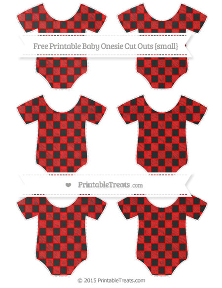 Free Red Checker Pattern Chalk Style Small Baby Onesie Cut Outs