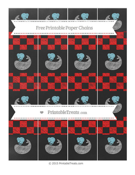 Free Red Checker Pattern Chalk Style Whale Paper Chains