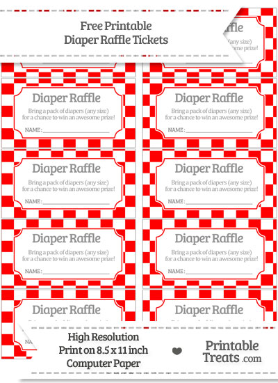 Free Red Checker Pattern Diaper Raffle Tickets
