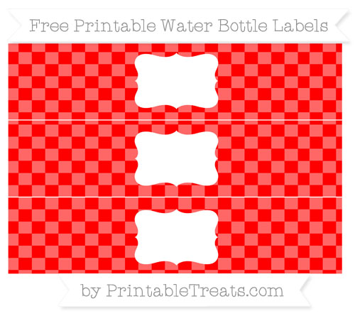 Free Red Checker Pattern Water Bottle Labels