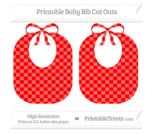 Free Red Checker Pattern Large Baby Bib Cut Outs