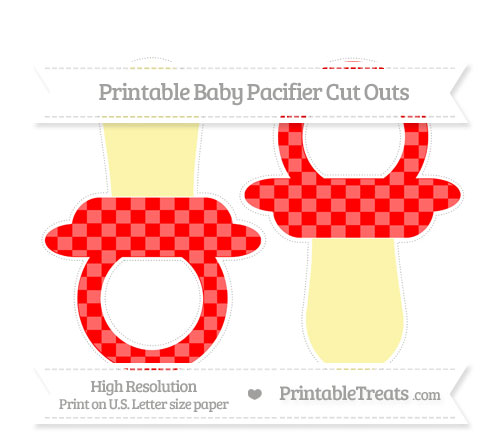 Free Red Checker Pattern Large Baby Pacifier Cut Outs