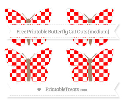 Free Red Checker Pattern Medium Butterfly Cut Outs