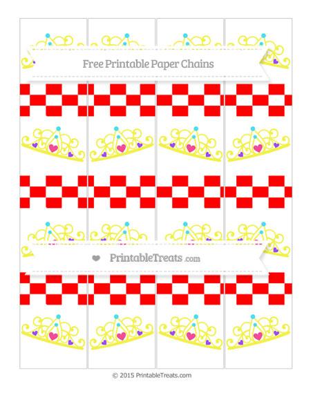 Free Red Checker Pattern Princess Tiara Paper Chains