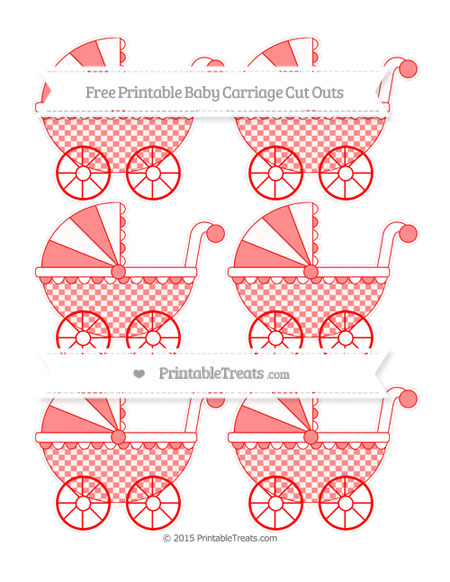 Free Red Checker Pattern Small Baby Carriage Cut Outs