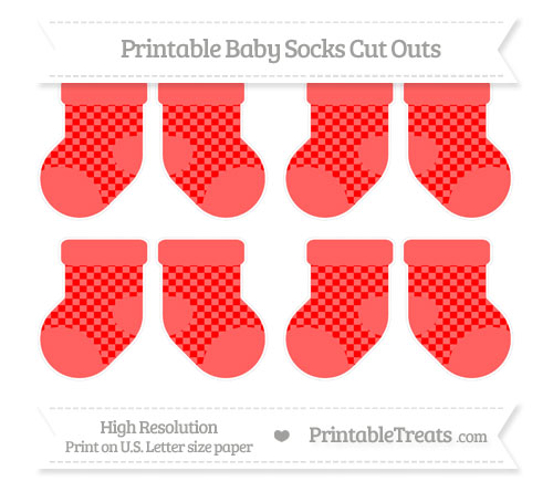 Free Red Checker Pattern Small Baby Socks Cut Outs