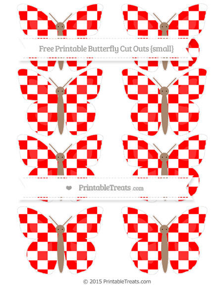 Free Red Checker Pattern Small Butterfly Cut Outs