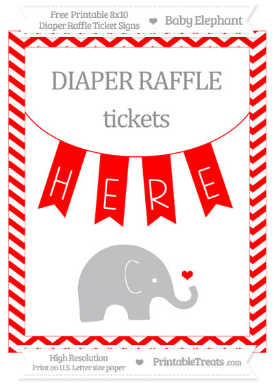Free Red Chevron Baby Elephant 8x10 Diaper Raffle Ticket Sign