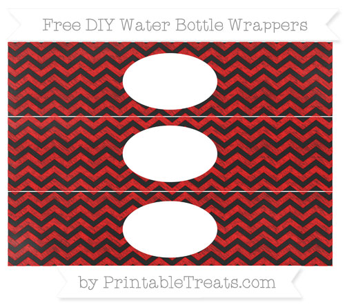 Free Red Chevron Chalk Style DIY Water Bottle Wrappers