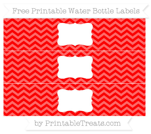 Free Red Chevron Water Bottle Labels