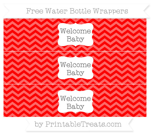 Free Red Chevron Welcome Baby Water Bottle Wrappers