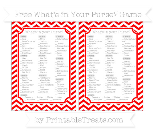 Free Red Chevron What's in Your Purse Baby Shower Game