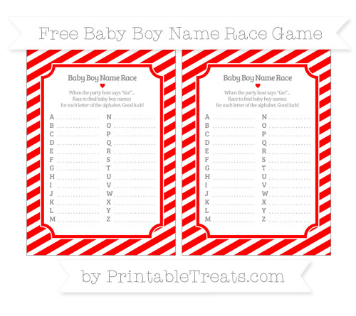 Free Red Diagonal Striped Baby Boy Name Race Game