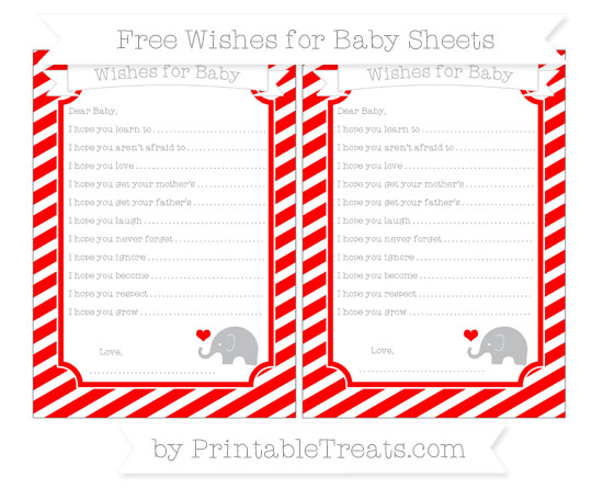 Free Red Diagonal Striped Baby Elephant Wishes for Baby Sheets