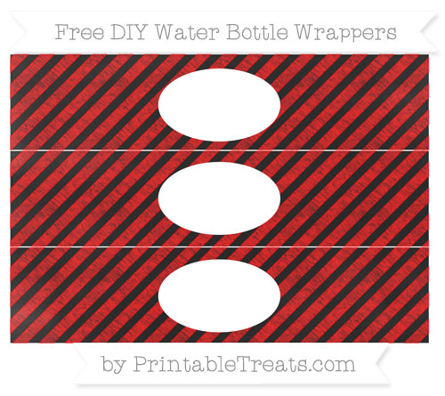 Free Red Diagonal Striped Chalk Style DIY Water Bottle Wrappers