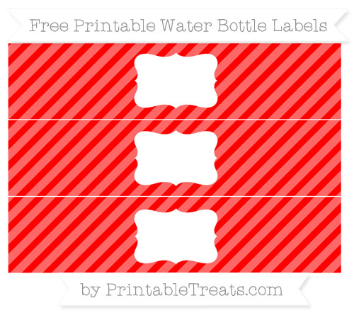 Free Red Diagonal Striped Water Bottle Labels