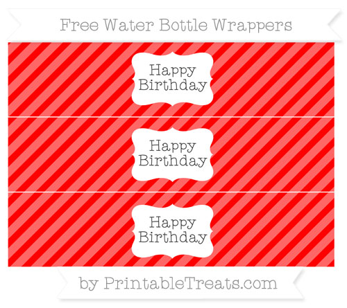 Free Red Diagonal Striped Happy Birhtday Water Bottle Wrappers