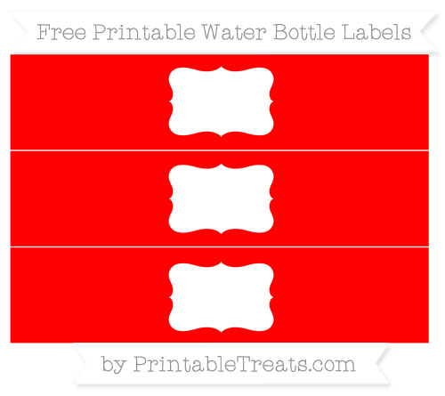 Free Red Water Bottle Labels