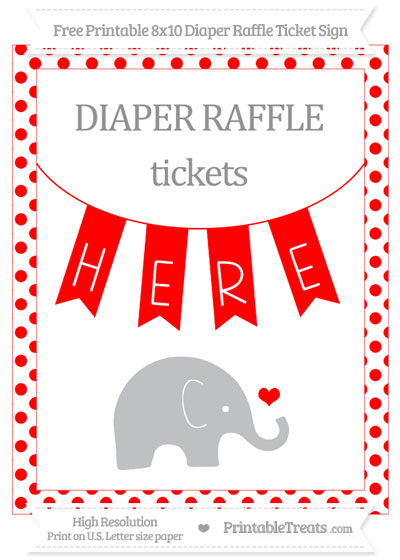 Free Red Dotted Baby Elephant 8x10 Diaper Raffle Ticket Sign