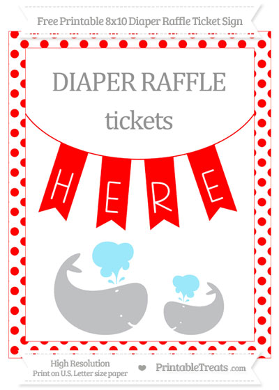 Free Red Dotted Baby Whale 8x10 Diaper Raffle Ticket Sign
