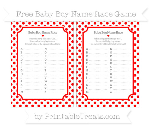 Free Red Dotted Pattern Baby Boy Name Race Game