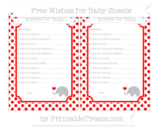 Free Red Dotted Pattern Baby Elephant Wishes for Baby Sheets