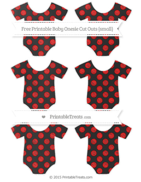 Free Red Dotted Pattern Chalk Style Small Baby Onesie Cut Outs