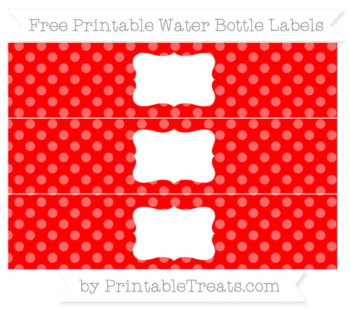 Free Red Dotted Pattern Water Bottle Labels