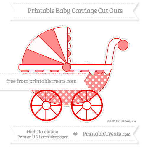 Free Red Dotted Pattern Extra Large Baby Carriage Cut Outs