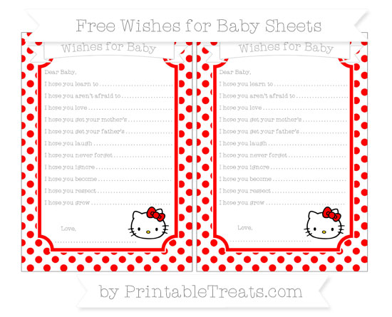 Free Red Dotted Pattern Hello Kitty Wishes for Baby Sheets
