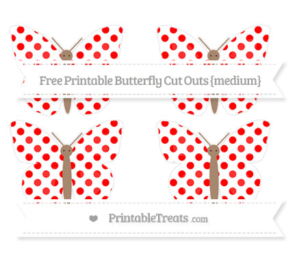 Free Red Dotted Pattern Medium Butterfly Cut Outs