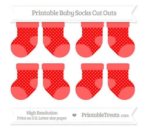 Free Red Dotted Pattern Small Baby Socks Cut Outs